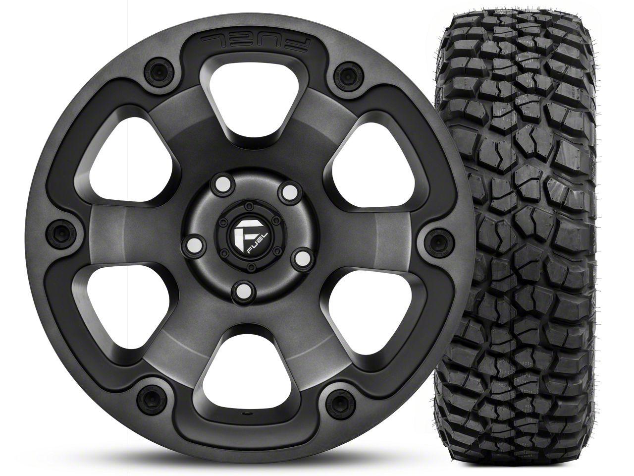 Fuel Wheels Beast Black Machined Wheel 17x9 and BF Goodrich Mud Terrain T/A KM2 265/70R17 Kit (07-18 Jeep Wrangler JK; 2018 Jeep Wrangler JL)