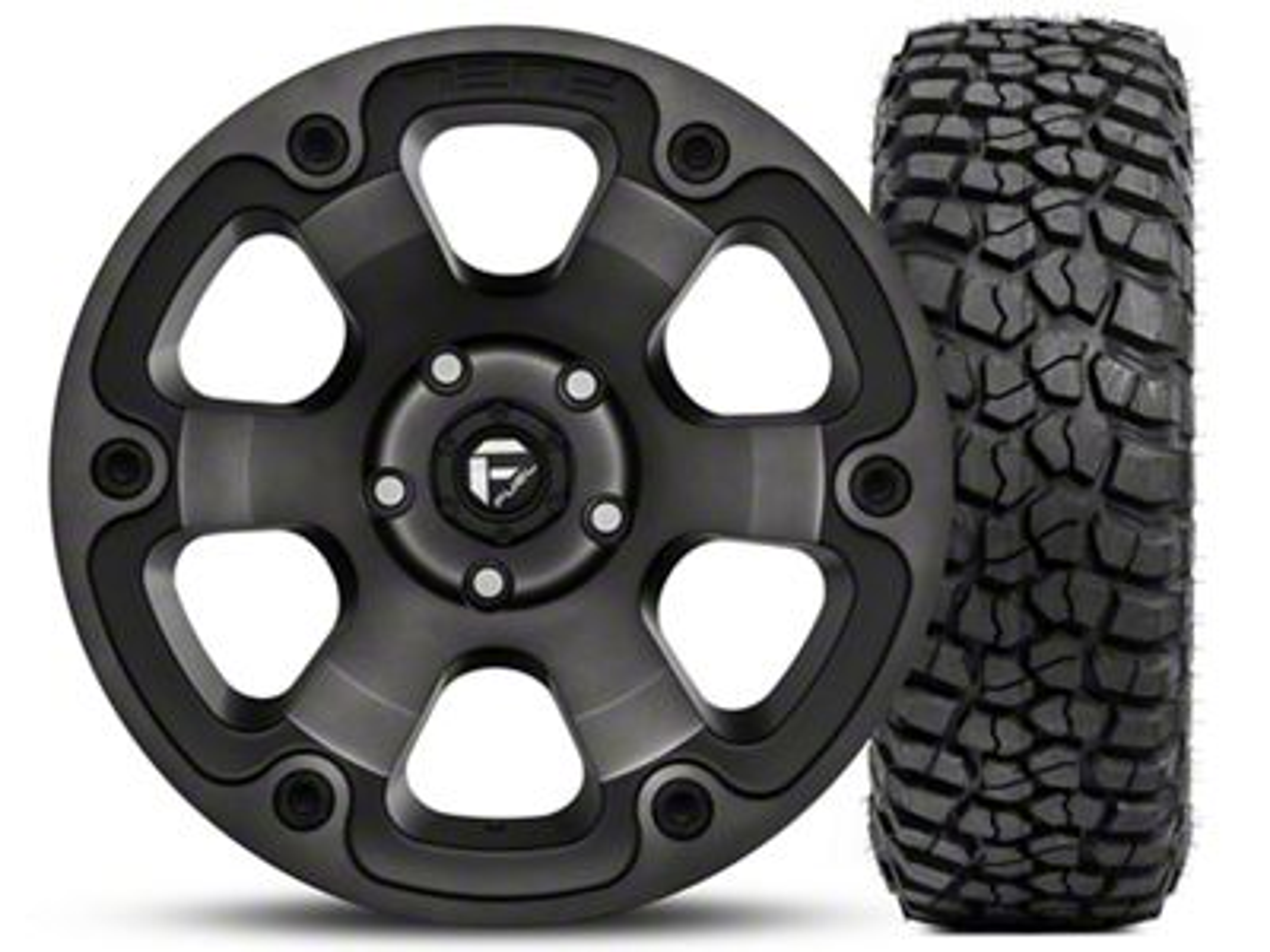 Fuel Wheels Beast Black Machined Wheel 17x9 and BF Goodrich Mud Terrain T/A KM2 35x12.50R17 Kit (07-18 Jeep Wrangler JK)
