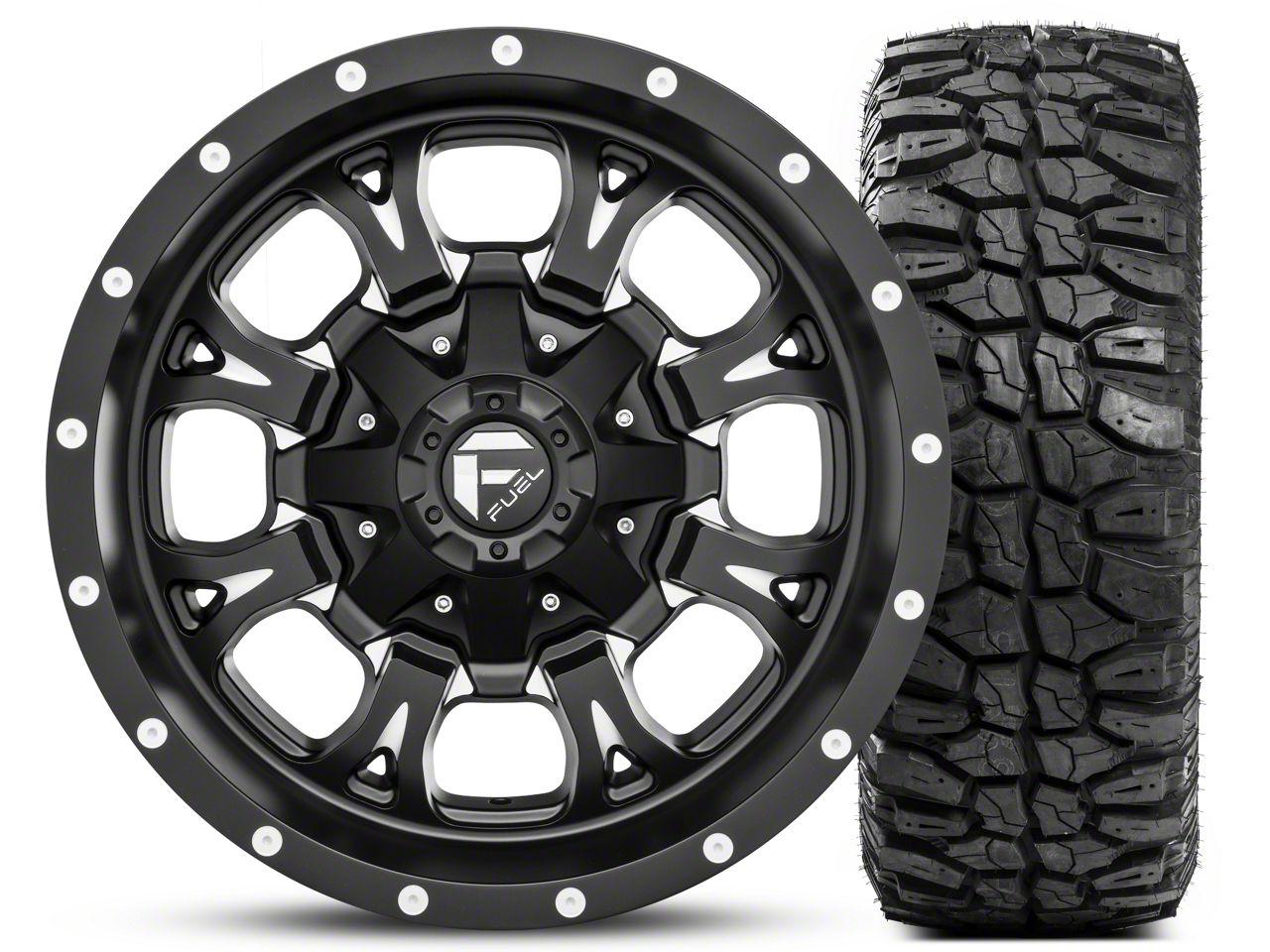 Fuel Wheels Krank Black Milled 17x9 and Mudclaw M/T LT265/70R17 Kit (07-18 Jeep Wrangler JK; 2018 Jeep Wrangler JL)