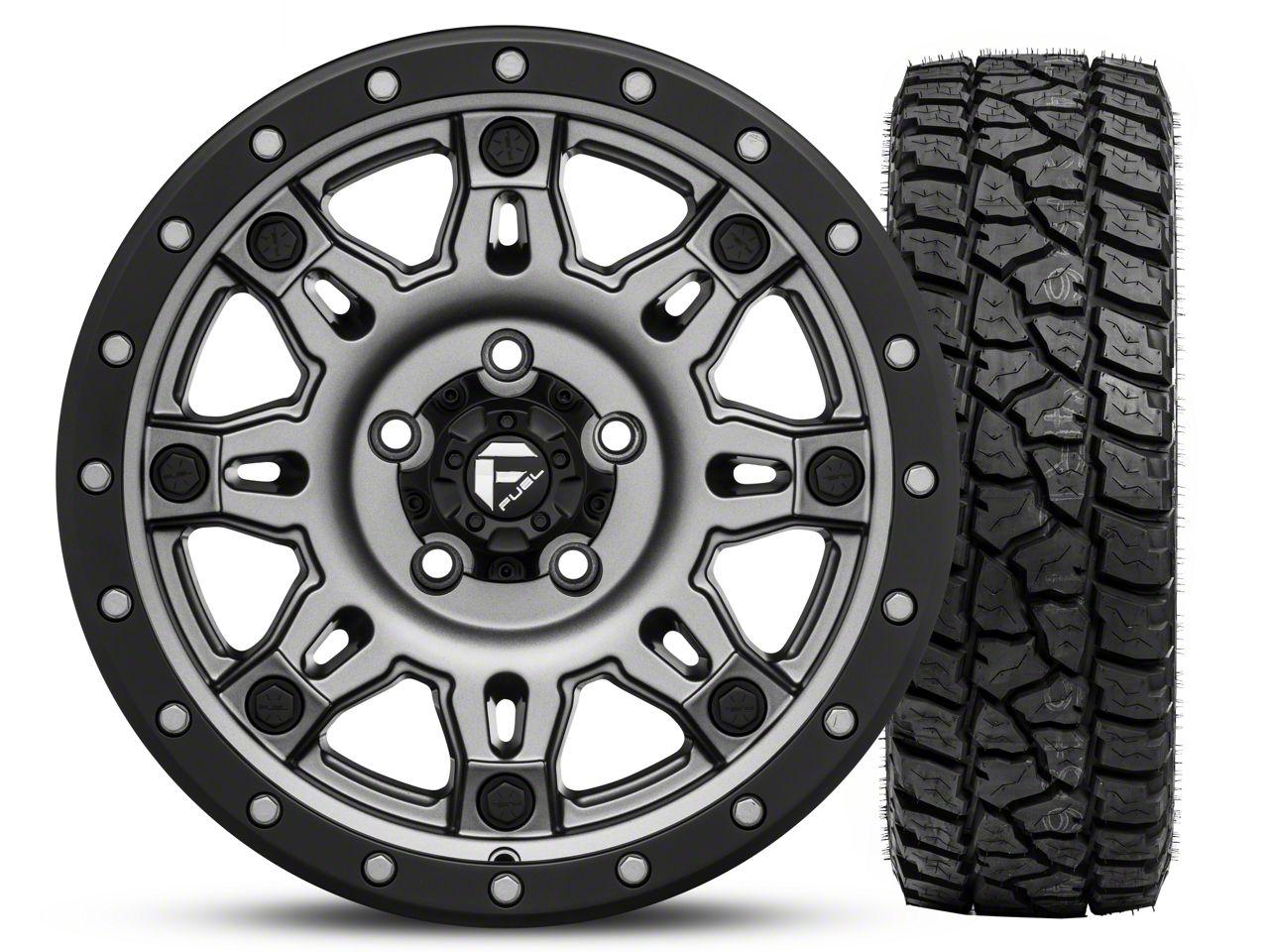 Fuel Wheels Hostage III Gunmetal and Black Wheel 17x9 and Mickey Thompson Baja ATZP3 LT265/70R17 Kit (07-18 Jeep Wrangler JK)