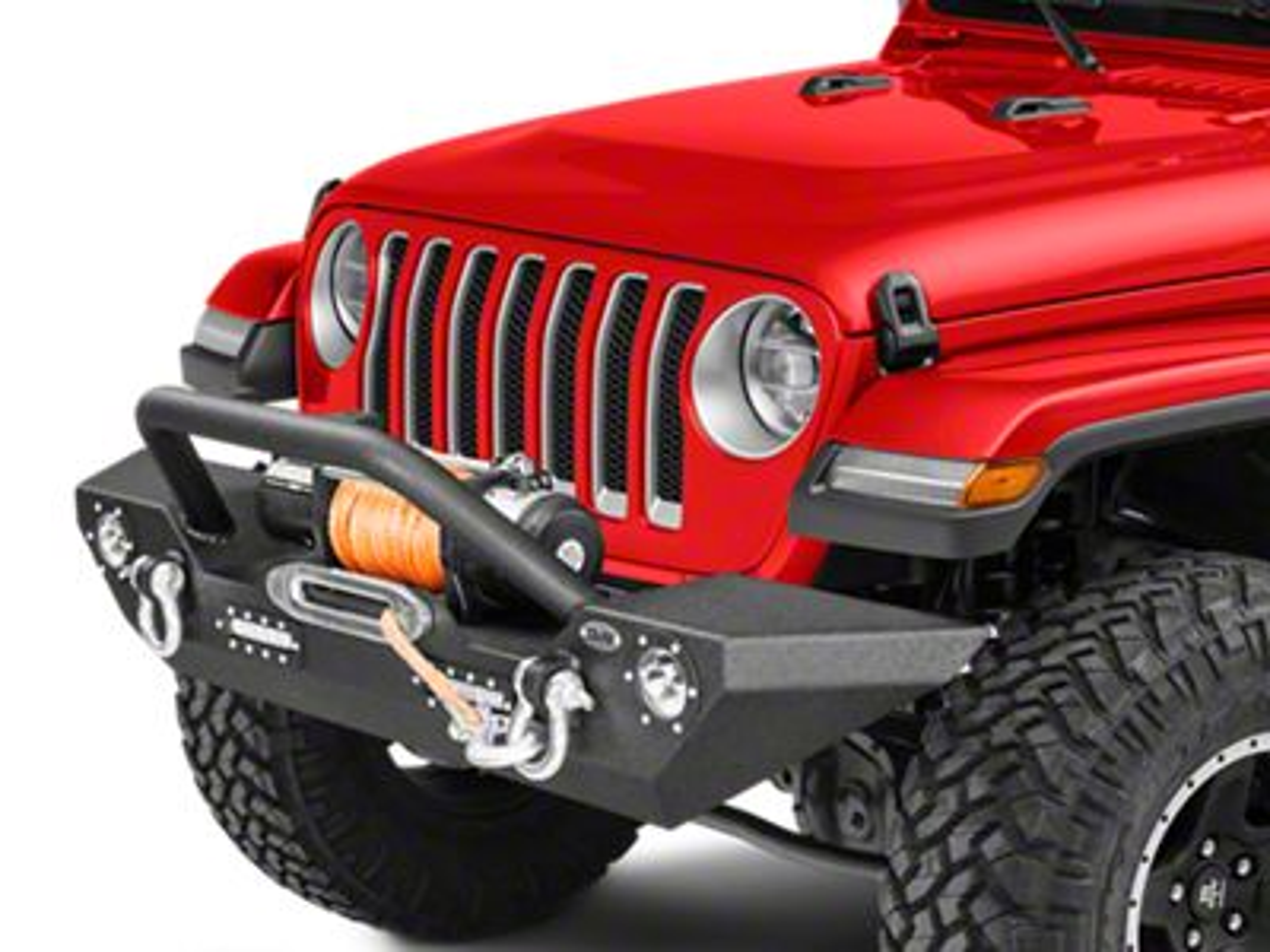 DV8 Off-Road LFS-7 Steel Mid Width Front Bumper w/ LED Lights (2018 Jeep Wrangler JL)