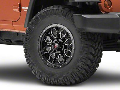 Havok Off-Road H-108 Black Machined Wheel - 17X9 (07-18 Jeep Wrangler JK; 2018 Jeep Wrangler JL)