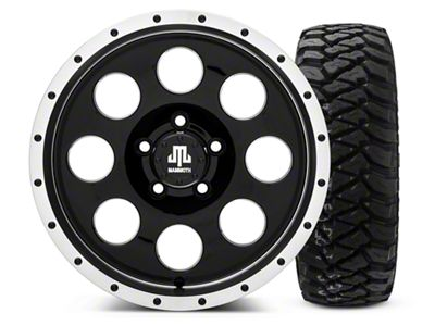 Mammoth 8 Beadlock Style Black 16x8 Wheel & Mickey Thompson Baja MTZP3 285/75R16 Tire Kit (87-06 Jeep Wrangler YJ & TJ)
