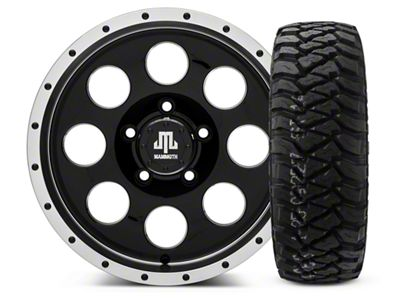 Mammoth 8 Beadlock Style Black - 16x8 Wheel - and Mickey Thompson Baja MTZP3 Tire - 285/75R16 (07-18 Jeep Wrangler JK)