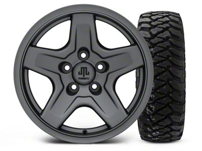 Mammoth Boulder Charcoal 16x8 Wheel & Mickey Thompson Baja MTZP3 285/75R16 Tire Kit (87-06 Jeep Wrangler YJ & TJ)