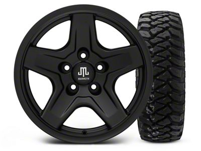 Mammoth Boulder Black 16x8 Wheel & Mickey Thompson Baja MTZP3 285/75R16 Tire Kit (87-06 Jeep Wrangler YJ & TJ)