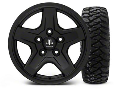 Mammoth Boulder Black - 16x8 Wheel - and Mickey Thompson Baja MTZP3 Tire - 285/75R16 (07-18 Jeep Wrangler JK)