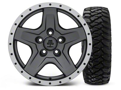 Mammoth Boulder Beadlock Style Charcoal 16x8 Wheel & Mickey Thompson Baja MTZP3 285/75R16 Tire Kit (87-06 Jeep Wrangler YJ & TJ)