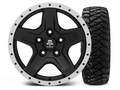 Mammoth Boulder Beadlock Style Black - 16x8 Wheel - and Mickey Thompson Baja MTZP3 Tire - 285/75R16 (07-18 Jeep Wrangler JK)