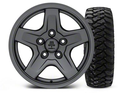 Mammoth Boulder Charcoal - 16x8 Wheel - and Mickey Thompson Baja MTZP3 Tire - 285/75R16 (07-18 Jeep Wrangler JK)