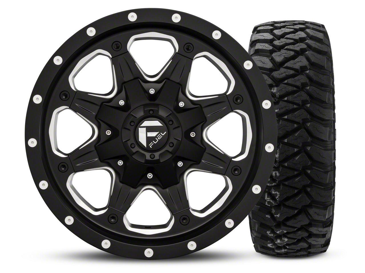 Fuel Wheels Boost - Black/Milled 16x8 Wheel - and Mickey Thompson Baja MTZP3 Tire - 285/75R16 (07-18 Jeep Wrangler JK; 2018 Jeep Wrangler JL)
