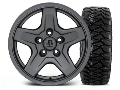 Mammoth Boulder Charcoal 16x8 Wheel & Mickey Thompson Baja MTZP3 305/70R16 Tire Kit (87-06 Jeep Wrangler YJ & TJ)