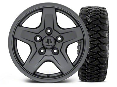 Mammoth Boulder Charcoal - 16x8 Wheel - and Mickey Thompson Baja MTZP3 Tire - 305/70R16 (07-18 Jeep Wrangler JK)