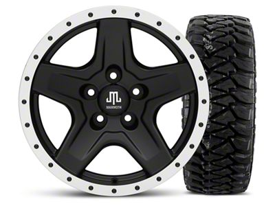 Mammoth Boulder Beadlock Style Black 16x8 Wheel & Mickey Thompson Baja MTZP3 305/70R16 Tire Kit (87-06 Jeep Wrangler YJ & TJ)