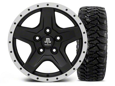 Mammoth Boulder Beadlock Style Black - 16x8 Wheel - and Mickey Thompson Baja MTZP3 Tire - 305/70R16 (07-18 Jeep Wrangler JK)