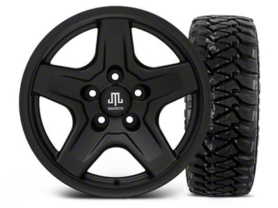 Mammoth Boulder Black 16x8 Wheel & Mickey Thompson Baja MTZP3 305/70R16 Tire Kit (87-06 Jeep Wrangler YJ & TJ)