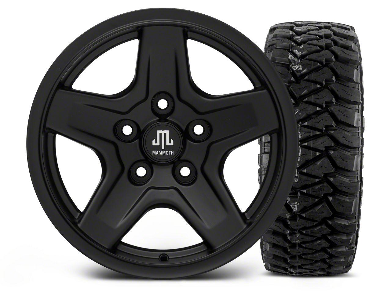 Mammoth Boulder Black - 16x8 Wheel - and Mickey Thompson Baja MTZP3 Tire - 305/70R16 (07-18 Jeep Wrangler JK)