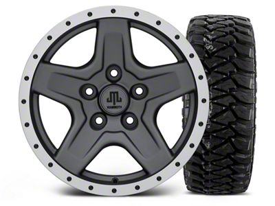 Mammoth Boulder Beadlock Style Charcoal - 16x8 Wheel - and Mickey Thompson Baja MTZP3 Tire - 305/70R16 (07-18 Jeep Wrangler JK)