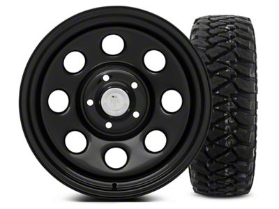 Mammoth 8 Black Steel - 17x9 Wheel - and Mickey Thompson Baja MTZP3 Tire - 285/70R17 (07-18 Jeep Wrangler JK)