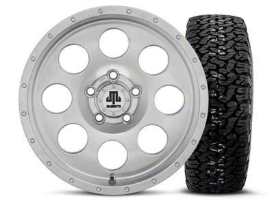 Mammoth 8 Beadlock Style Polished 15x8 Wheel & BF Goodrich All Terrain TA KO2 35x12.5R15 Tire Kit (87-06 Jeep Wrangler YJ & TJ)