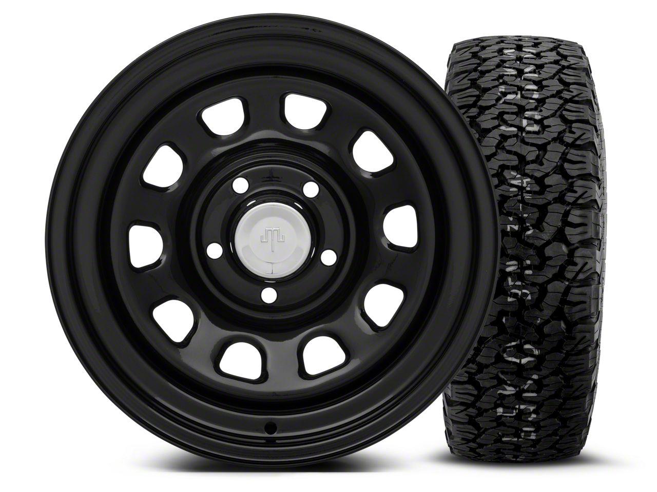 Mammoth D Window Black Steel 15x8 Wheel & BF Goodrich All Terrain TA KO2 35x12.5R15 Tire Kit (87-06 Jeep Wrangler YJ & TJ)
