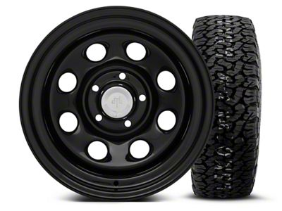 Mammoth 8 Black Steel 15x10 Wheel & BF Goodrich All Terrain TA KO2 35x12.5R15 Tire Kit (87-06 Jeep Wrangler YJ & TJ)