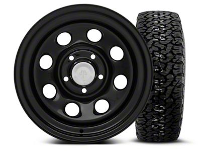 Mammoth 8 Black Steel 15x8 Wheel & BF Goodrich All Terrain TA KO2 35x12.5R15 Tire Kit (87-06 Jeep Wrangler YJ & TJ)