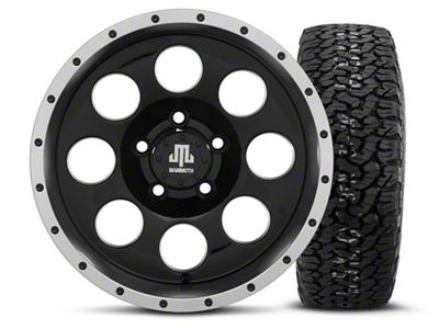 Mammoth 8 Beadlock Style Black 15x8 Wheel & BF Goodrich All Terrain TA KO2 35x12.5R15 Tire Kit (87-06 Jeep Wrangler YJ & TJ)