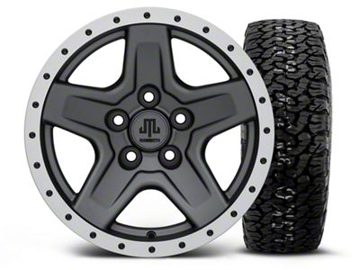 Mammoth Boulder Beadlock Style Charcoal 15x8 Wheel & BF Goodrich All Terrain TA KO2 35x12.5R15 Tire Kit (87-06 Jeep Wrangler YJ & TJ)