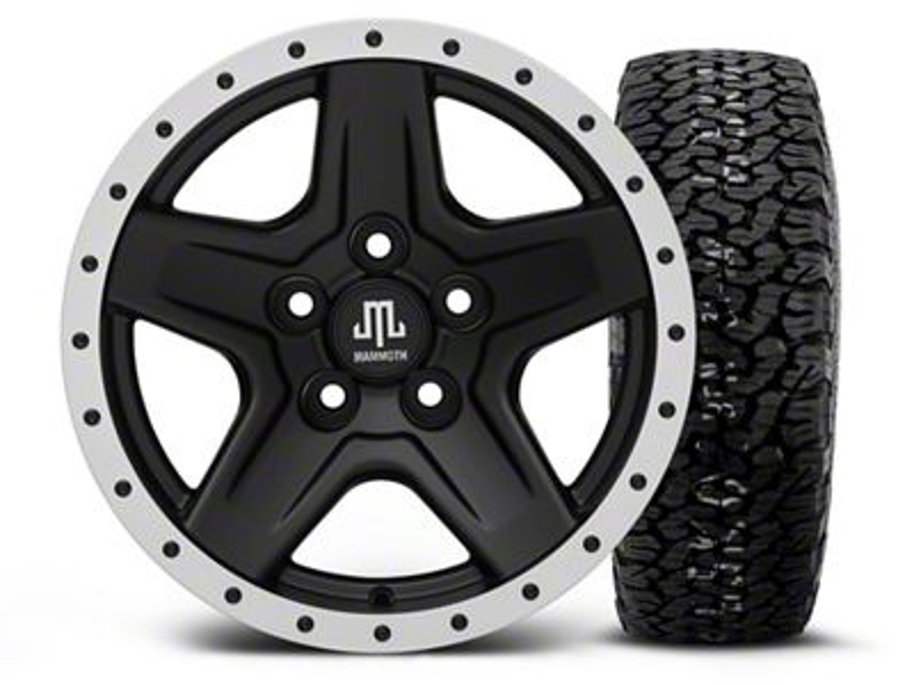 Mammoth Boulder Beadlock Style Black 15x8 Wheel & BF Goodrich All Terrain TA KO2 35x12.5R15 Tire Kit (87-06 Jeep Wrangler YJ & TJ)