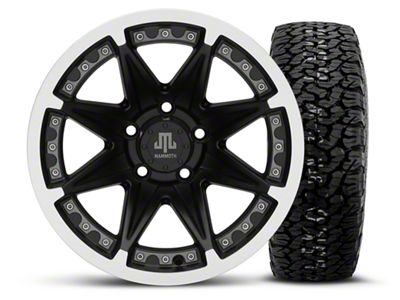 Mammoth Type 88 Black 15x8 Wheel & BF Goodrich All Terrain TA KO2 35x12.5R15 Tire Kit (87-06 Jeep Wrangler YJ & TJ)