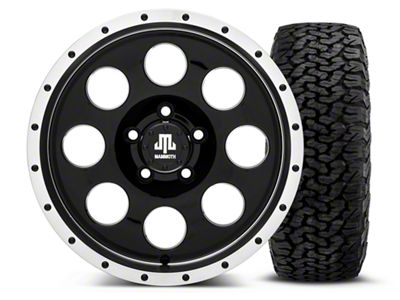 Mammoth 8 Beadlock Style Black 16x8 Wheel & BF Goodrich All Terrain TA KO2 305/70R16 Tire Kit (87-06 Jeep Wrangler YJ & TJ)