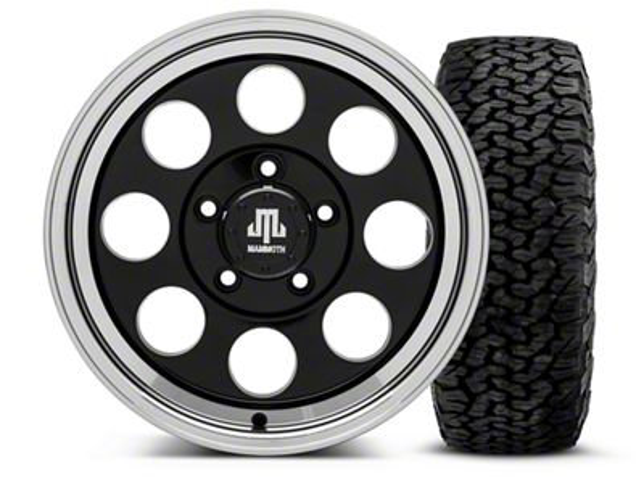 Mammoth 8 Black - 16x8 Wheel - and BF Goodrich All Terrain TA KO2 Tire - 305/70R16 (07-18 Jeep Wrangler JK)