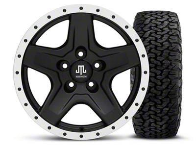 Mammoth Boulder Beadlock Style Black 16x8 Wheel & BF Goodrich All Terrain TA KO2 305/70R16 Tire Kit (87-06 Jeep Wrangler YJ & TJ)