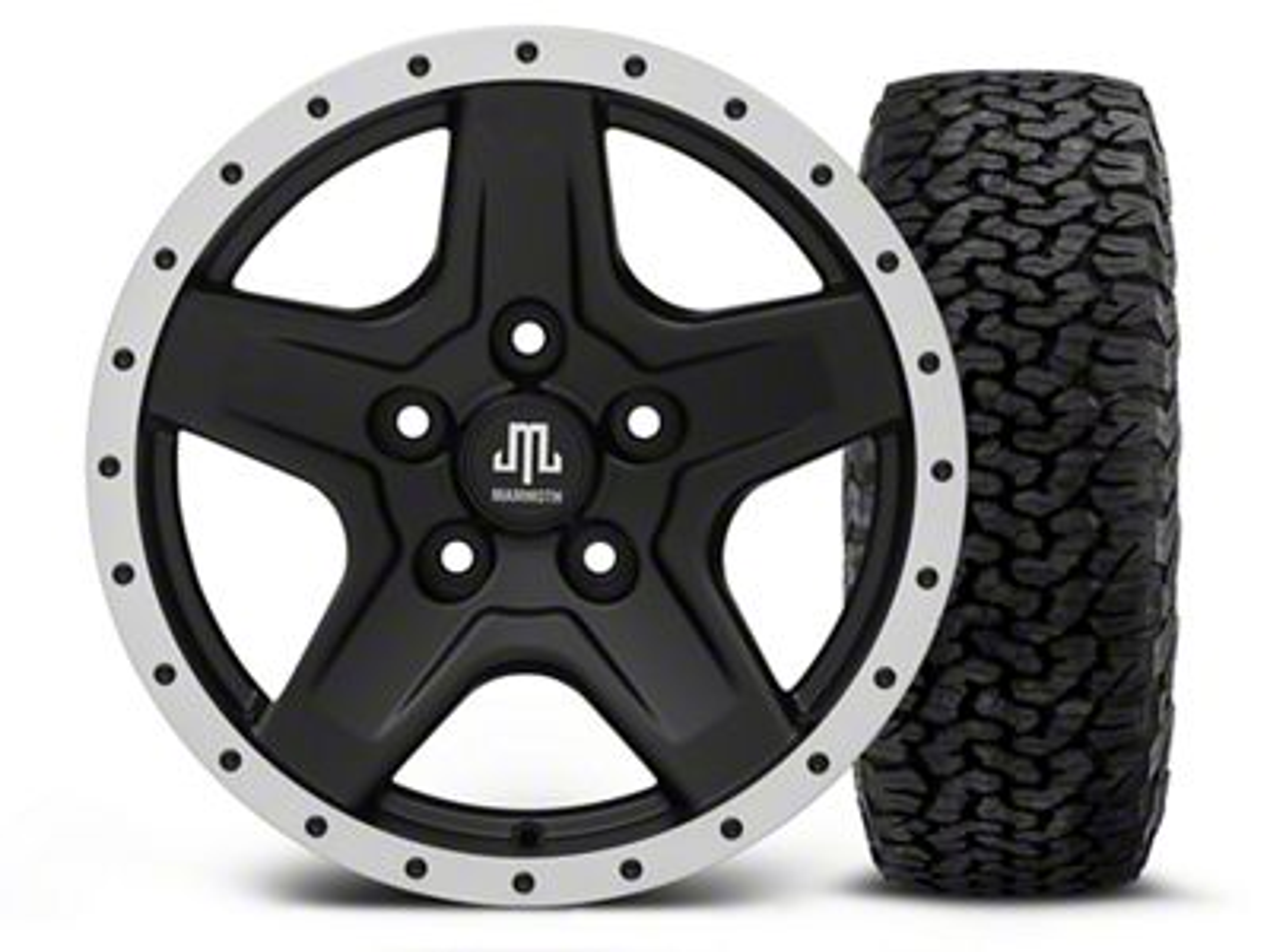 Mammoth Boulder Beadlock Style Black - 16x8 Wheel - and BF Goodrich All Terrain TA KO2 Tire - 305/70R16 (07-18 Jeep Wrangler JK)