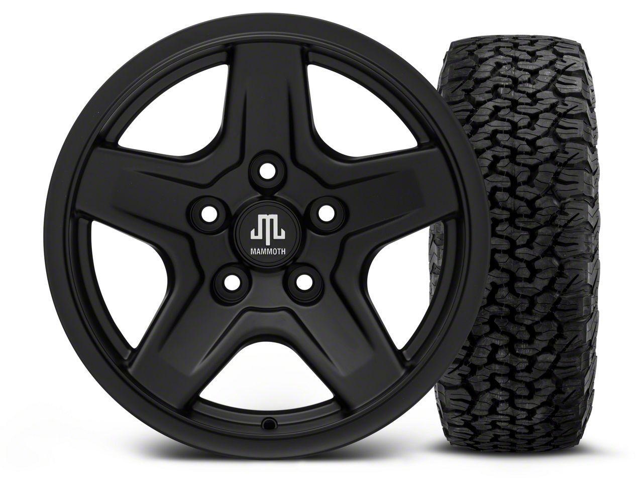 Mammoth Boulder Black - 16x8 Wheel - and BF Goodrich All Terrain TA KO2 Tire - 305/70R16 (07-18 Jeep Wrangler JK)