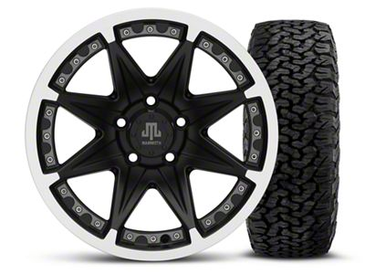 Mammoth Type 88 Black 16x8 Wheel & BF Goodrich All Terrain TA KO2 305/70R16 Tire Kit (87-06 Jeep Wrangler YJ & TJ)