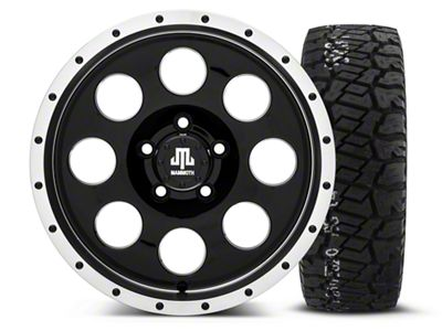 Mammoth 8 Beadlock Style Black 16x8 Wheel & BF Goodrich All Terrain TA KO2 315/75R16 Tire Kit (87-06 Jeep Wrangler YJ & TJ)