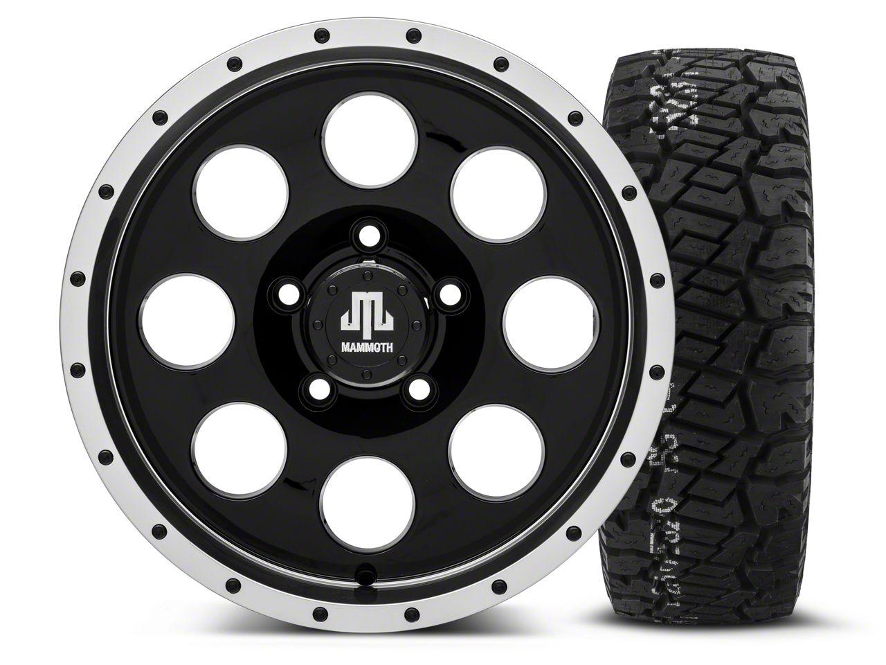 Mammoth 8 Beadlock Style Black - 16x8 Wheel - and BF Goodrich All Terrain TA KO2 Tire - 315/75R16 (07-18 Jeep Wrangler JK)