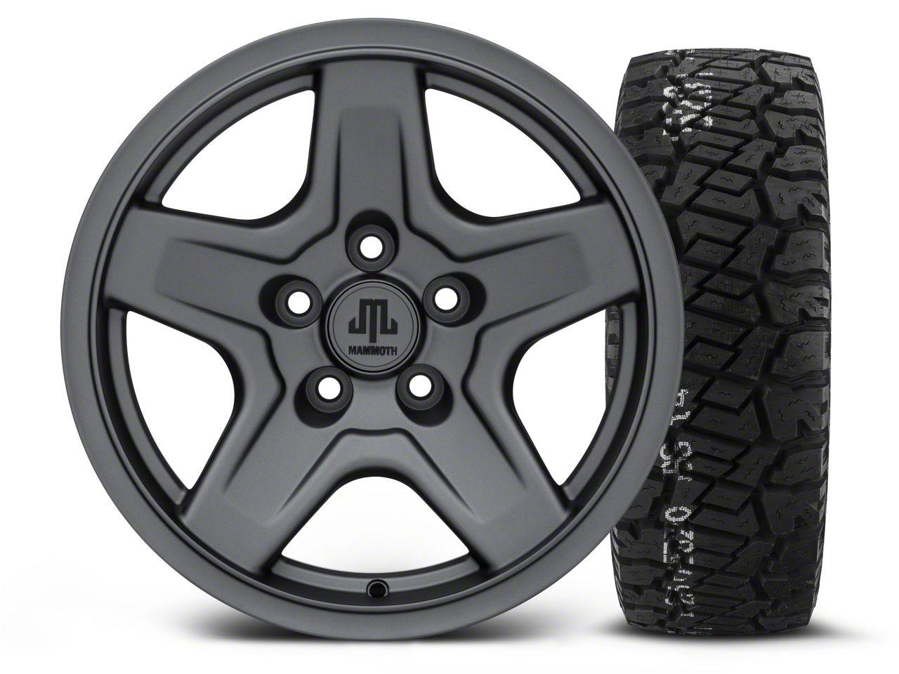 Mammoth Boulder Charcoal 16x8 Wheel & BF Goodrich All Terrain TA KO2 315/75R16 Tire Kit (87-06 Jeep Wrangler YJ & TJ)