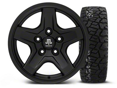 Mammoth Boulder Black - 16x8 Wheel - and BF Goodrich All Terrain TA KO2 Tire - 315/75R16 (07-18 Jeep Wrangler JK)