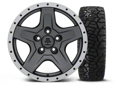 Mammoth Boulder Beadlock Style Charcoal 16x8 Wheel & BF Goodrich All Terrain TA KO2 315/75R16 Tire Kit (87-06 Jeep Wrangler YJ & TJ)