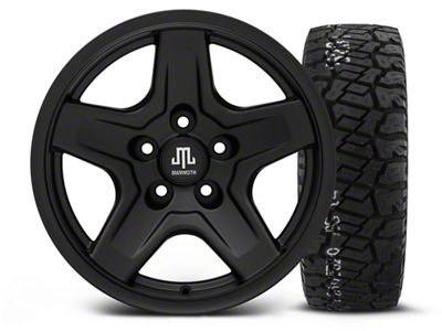 Mammoth Boulder Black 16x8 Wheel & BF Goodrich All Terrain TA KO2 315/75R16 Tire Kit (87-06 Jeep Wrangler YJ & TJ)