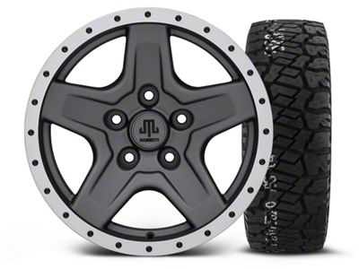 Mammoth Boulder Beadlock Style Charcoal - 16x8 Wheel - and BF Goodrich All Terrain TA KO2 Tire - 315/75R16 (07-18 Jeep Wrangler JK)