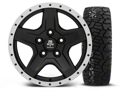 Mammoth Boulder Beadlock Style Black - 16x8 Wheel - and BF Goodrich All Terrain TA KO2 Tire - 315/75R16 (07-18 Jeep Wrangler JK)