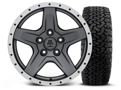 Mammoth Boulder Beadlock Style Charcoal - 17x9 Wheel - and BF Goodrich All Terrain TA KO2 Tire - 315/70R17 (07-18 Jeep Wrangler JK)