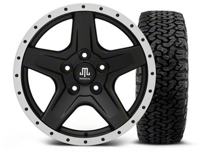 Mammoth Boulder Beadlock Style Black - 17x9 Wheel - and BF Goodrich All Terrain TA KO2 Tire - 315/70R17 (07-18 Jeep Wrangler JK)