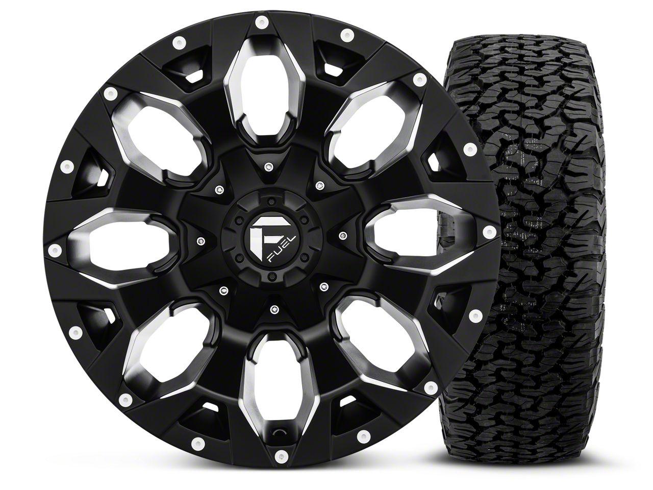 Fuel Wheels Assault Black Machined - 17x9 Wheel - and BF Goodrich All Terrain TA KO2 Tire - 315/70R17 (07-18 Jeep Wrangler JK)