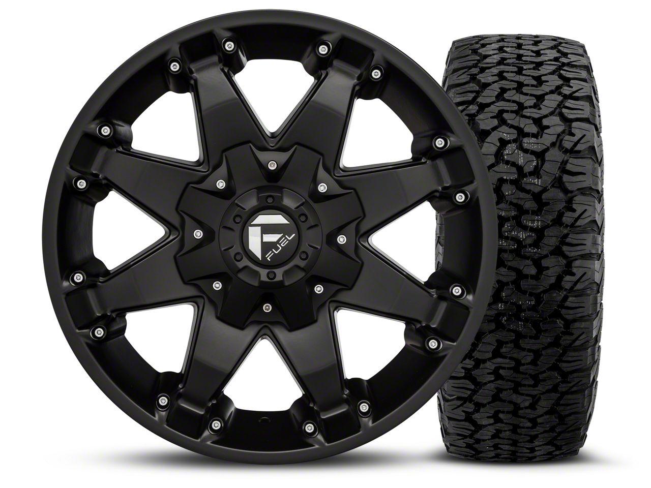 Fuel Wheels Octane - Matte Black 17x8.5 Wheel - and BF Goodrich All Terrain TA KO2 Tire - 315/70R17 (07-18 Jeep Wrangler JK; 2018 Jeep Wrangler JL)