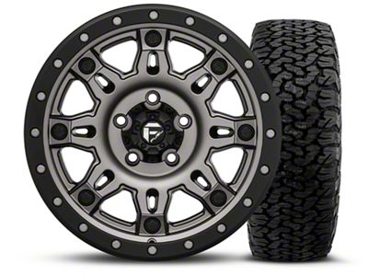 Fuel Wheels Hostage III Gunmetal and Black - 17x9 Wheel - and BF Goodrich All Terrain TA KO2 Tire - 315/70R17 (07-18 Jeep Wrangler JK)